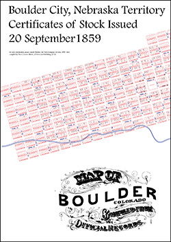 Boulder City Town Company, 20 Sept 1859 Map Showing Stock Certificates Issued by Lot